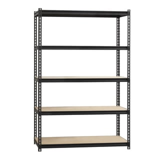 "Iron Horse 2300 lb Riveted Shelving, 5-Shelf, 72""Hx48""Wx18""D, Black"