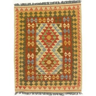 eCarpetGallery Anatolian Red Wool Handwoven Kilim Rug (2'11 x 3'8)