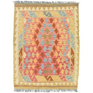 eCarpetGallery Kashkoli Red Wool Hand-Woven Geometric Pattern Kilim Rug (3' x 3'11)