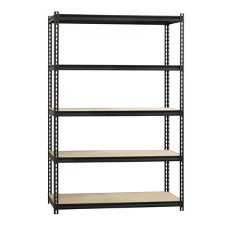 "Iron Horse 2300 lb Riveted Shelving, 5-Shelf, 72""Hx48""Wx24""D, Black"