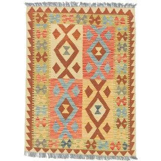 eCarpetGallery Hereke Orange Wool Handwoven Kilim Rug (2'9 x 3'10)