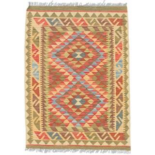 eCarpetGallery Kashkoli Red Wool Handwoven Kilim Rug (2'9 x 3'10)