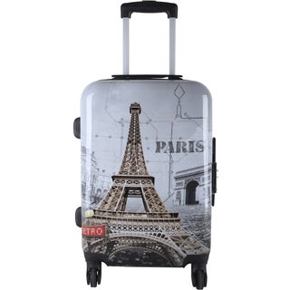 Oh La La Eiffel Tower Multicolor ABS 24-inch Expandable Hardside Spinner Suitcase