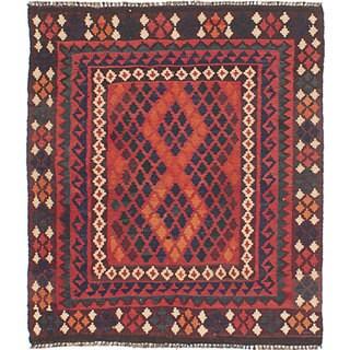eCarpetGallery Hand-Woven Shirvan Kilim Red Wool Rug (2'10 x 3'4)