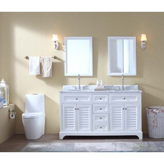 "Madison 60"" Double Bathroom Vanity Set - White"