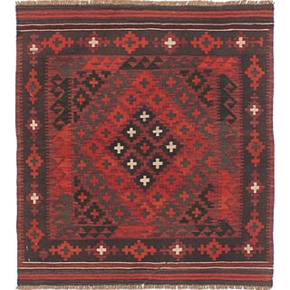 eCarpetGallery Shirvan Red Wool Hand-woven Kilim (2'11 x 3'3)