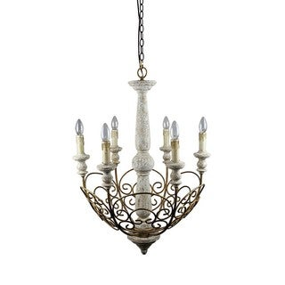 Antique White Wood/Iron Scrollwork 6-light Pendant Light
