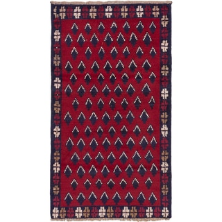 Hand-knotted Herati Red Wool Rug - 2'9 x 4'10