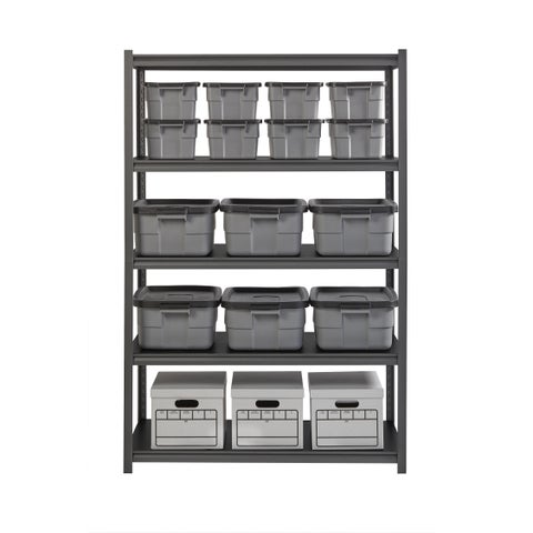"""Iron Horse 3200 lb Concealed Riveted Shelving, 72""""Hx48""""Wx24""""D, Gray"""