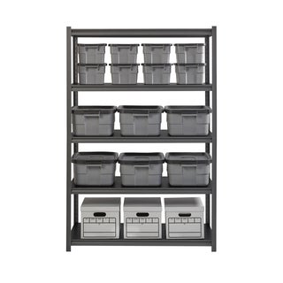 "Iron Horse 3200 lb Concealed Riveted Shelving, 72""Hx48""Wx24""D, Gray"