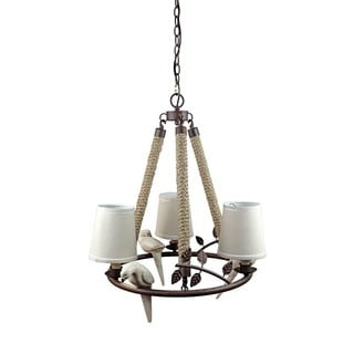 Bird Fabric Shade 3-light Candle Hemp Rope Accent Chandelier