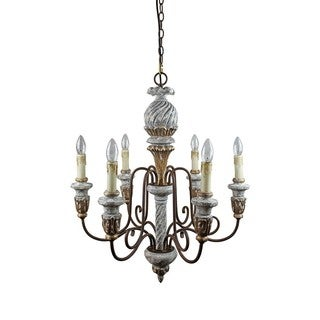Antique White Iron/Wood 25 3/5-inch 6-light Candle Chandelier
