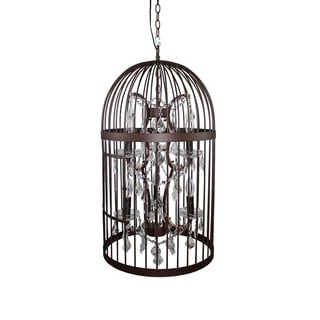 Vintage Industrial Bird Cage Pendant Light with Crystal Accent