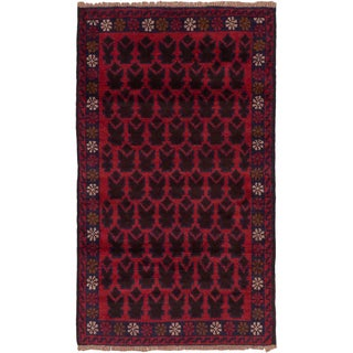 eCarpetGallery Red Hand-knotted Wool Herati Rug (2' x 4')