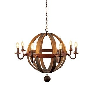 Wood and Iron 36-inch Globe 8-light Candle Pendant Chandelier