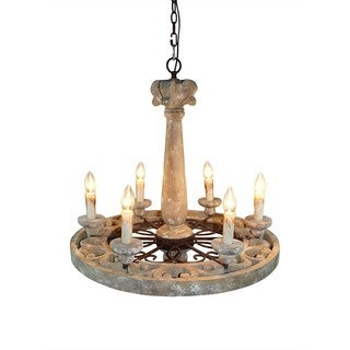 26-inch Wood and Iron Wheel 6-light Pendant Chandelier