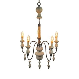 Antique Iron/Wood Candle-style 5-light Pendant Chandelier