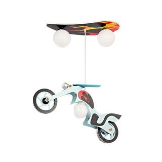 Multicolor Glass and Wood 3-light Motorcycle Pendant Light