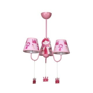 Pink Iron Girl's Fabric Shade 3-light Chandelier