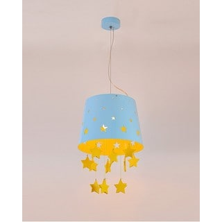 Wood Star Blue Metal 1-Light Pendant