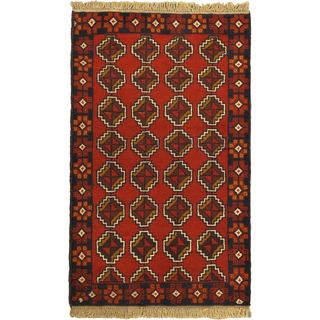 eCarpetGallery Royal Balouch Red Wool Hand-knotted Rug (3' x 4'9)