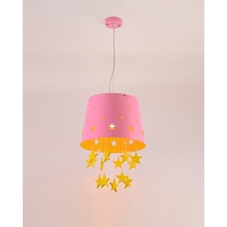 Wood Star Pink Finish Iron/Wood 1-light Pendant