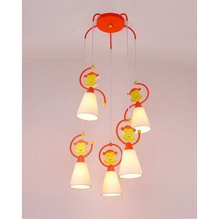 Orange Monkey Iron/Wood 5-light Pendant Light with Fabric Shade