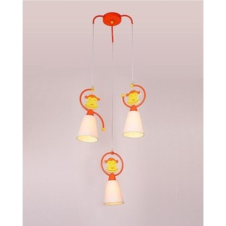 Orange Monkey White Fabric Shade 3-light Pendant Light