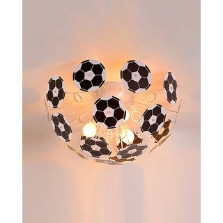 Soccer Ball Black and White Iron and PVC 3-light Semi-flush-mount Light Fixture