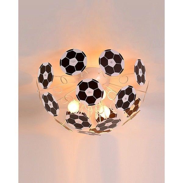 Shop Soccer Ball Black And White Iron And Pvc 3 Light Semi Flush