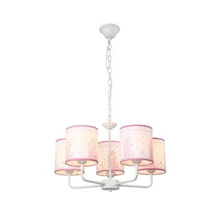 Pink Giraffe Iron 5-light Chandelier with PVC Shade