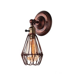 Retro Industrial Lily Wall Sconce with Iron Cage