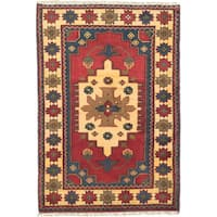 eCarpetGallery Red/Yellow Wool Hand-knotted Finest Kargahi Rug (2'9 x 4')