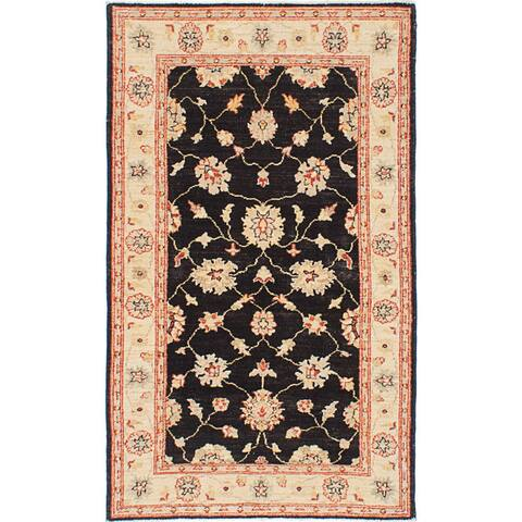 Hand-knotted Chobi Finest Black Wool Rug