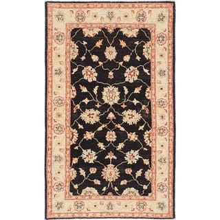 eCarpetGallery Finest Chobi Black Wool Hand-knotted Rug (3' x 4'11)