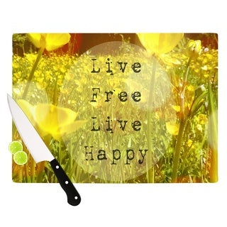 "Kess InHouse Alison Coxon ""Live Free"" Yellow Green Cutting Board"