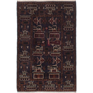 eCarpetGallery Rare War Blue Wool Hand-knotted Area Rug(3' x 4'7)