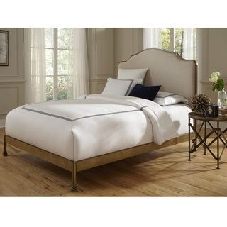 Calvados Complete Bed with Metal Headboard and Sand Colored Upholstery