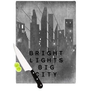 Kess InHouse Alison Coxon 'Bright Lights Big City' Multicolor Glass Cutting Board