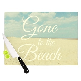 "Kess InHouse Alison Coxon ""Gone To The Beach"" Tan Blue Cutting Board"
