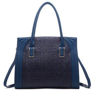 Pink Haley Dariela Faux-leather Weave Tote Handbag
