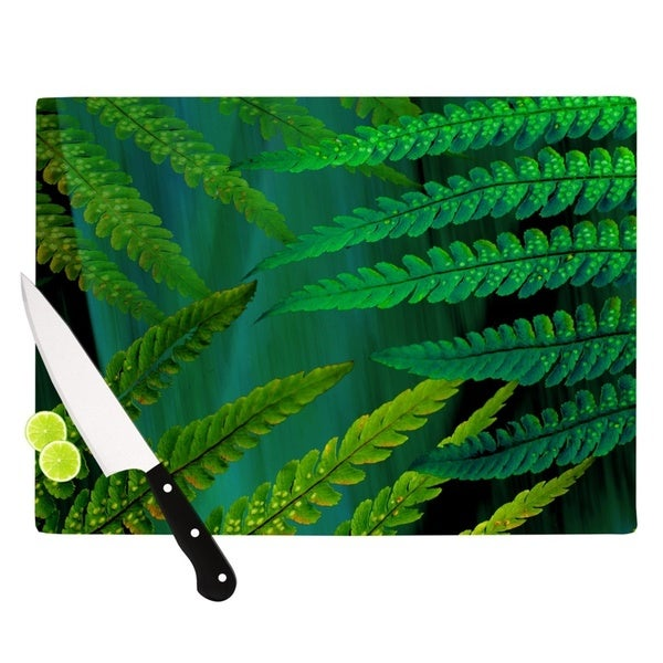 "Kess InHouse Alison Coxon ""Forest Fern Green"" Plant Cutting Board"