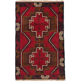 eCarpetGallery Bahor Red Wool Hand-knotted Rug (2'10 x 4'4)