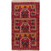eCarpetGallery Red Wool Hand-knotted Baluch Rug (2'10 x 4'7)