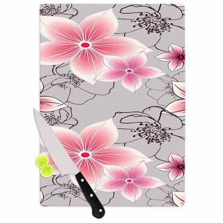 "Kess InHouse Alison Coxon ""Grey And Pink Floral"" Grey Pink Cutting Board"