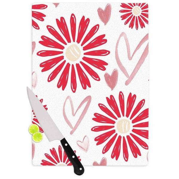 "Kess InHouse Alison Coxon ""Hearts And Flowers"" Love Pink Cutting Board"