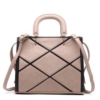 Pink Haley Acacia Patchwork Multicolor Faux Leather Satchel Handbag|https://ak1.ostkcdn.com/images/products/13108727/P19838073.jpg?_ostk_perf_=percv&impolicy=medium