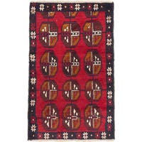 eCarpetGallery Red Wool Hand-knotted Bahor Rug (2'9 x 4'6)