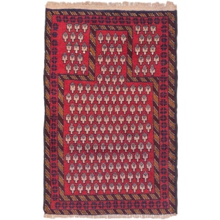eCarpetGallery Baluch Red Wool Hand-knotted Rug (2'9 x 4'3)