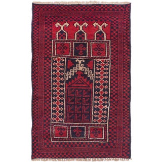 eCarpetGallery Red Wool Hand-knotted Baluch Rug (2'9 x 4'4)